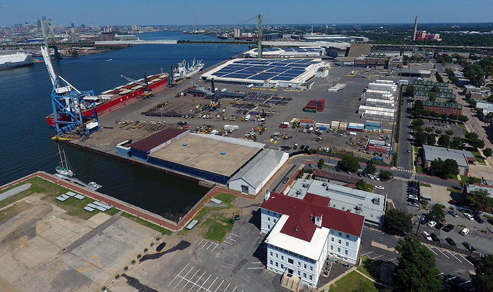 Aerial view of warehouse and port