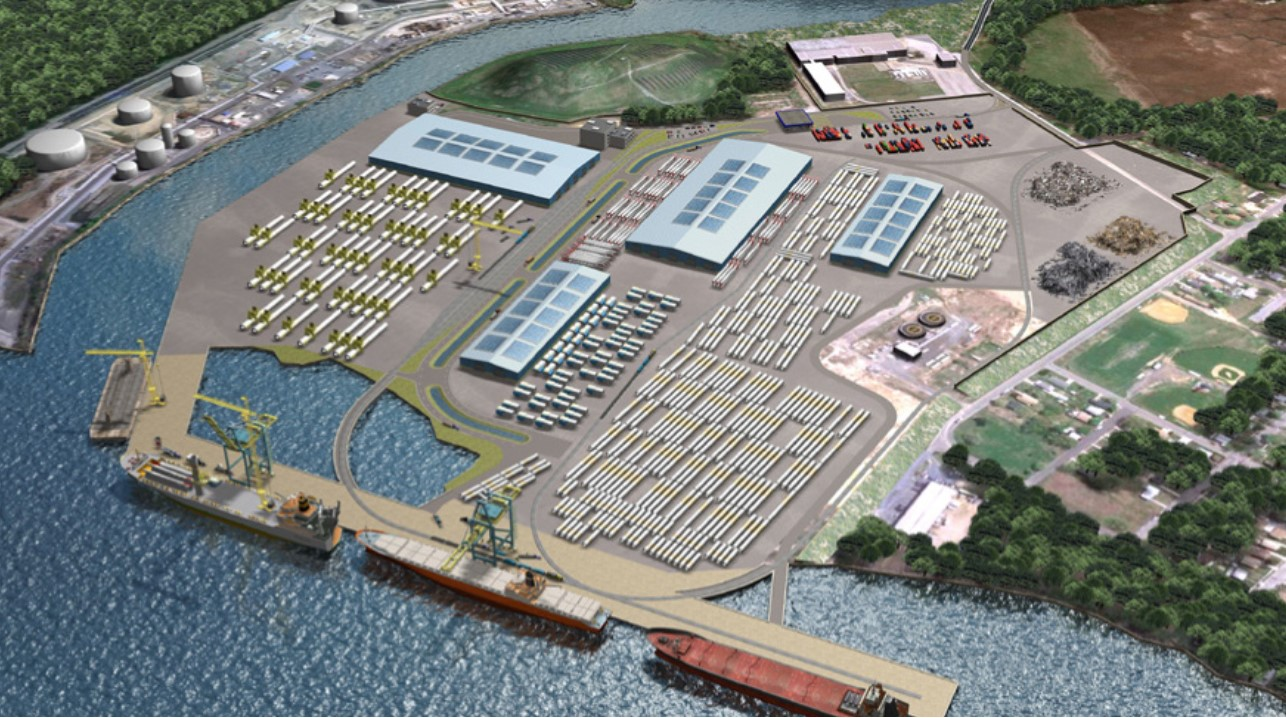 Aerial view of port and warehouses